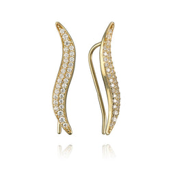 14K Yellow Gold and Cubic Zirconia Curved Bar Earrings