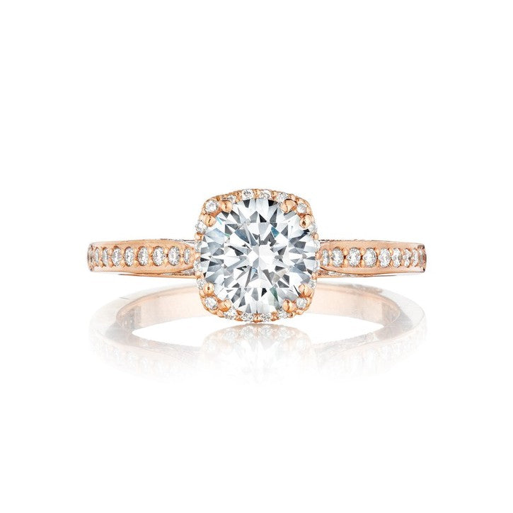 Tacori Dantela 18K Pink Gold and Diamond Engagement Ring