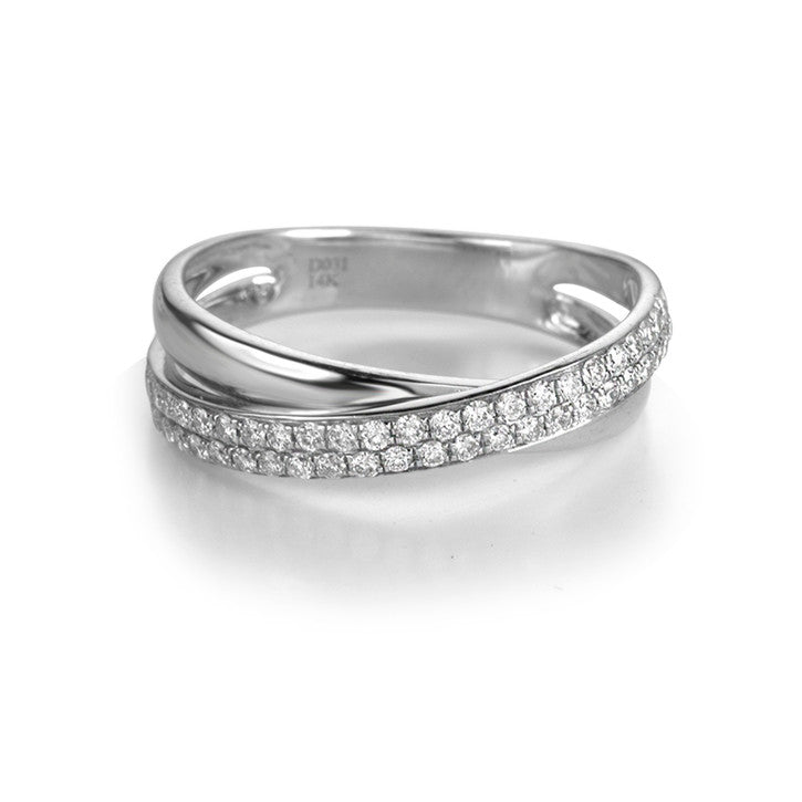 14K White Gold Crossed Shank Diamond Ring