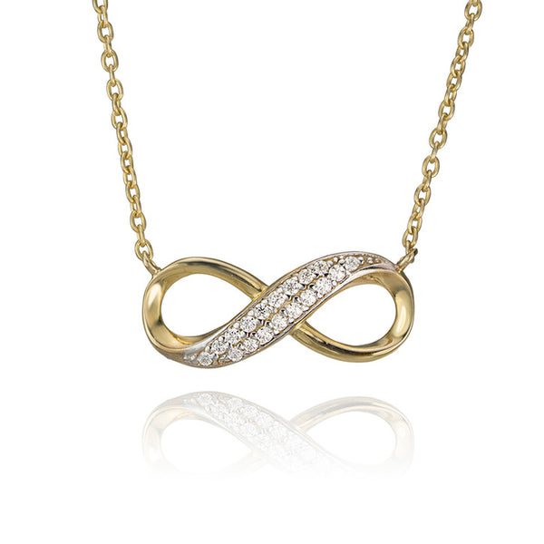 10K Yellow Gold and Cubic Zirconia Eternity Necklace
