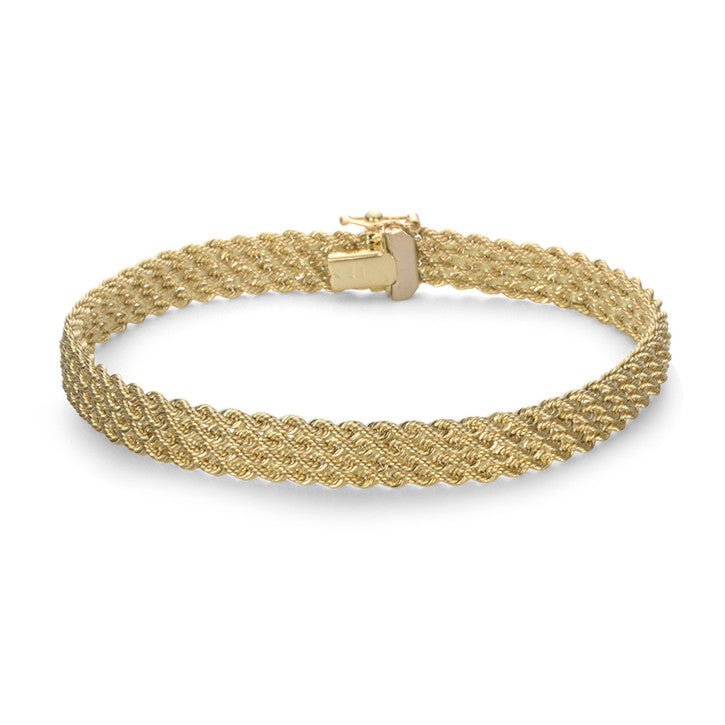 14K Yellow Gold Multi Strand Rope Link Bracelet