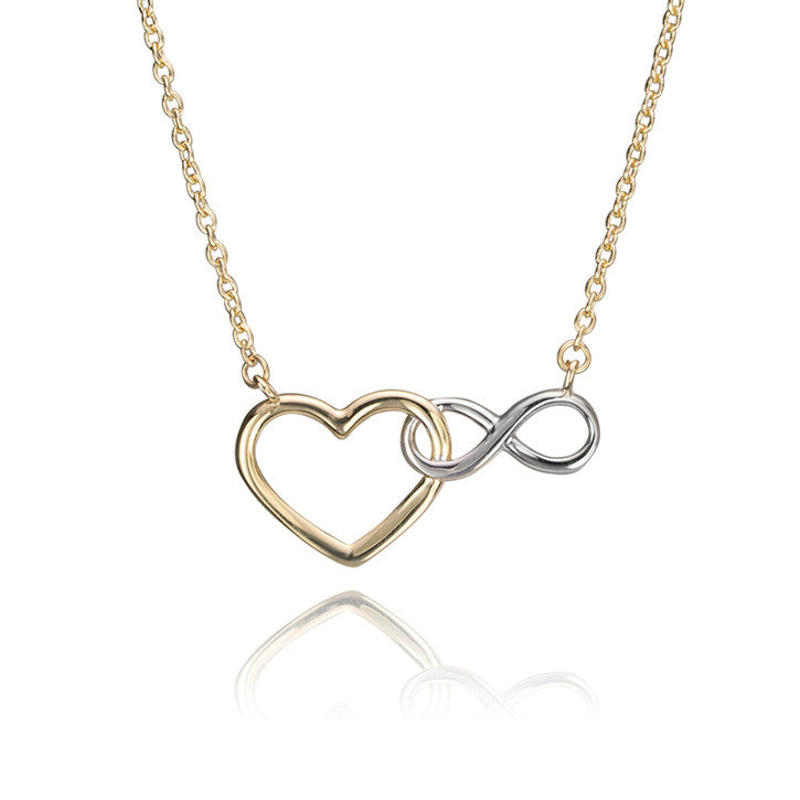 14K Yellow Gold Heart and Infinity Necklace