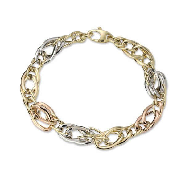 14K Tri Colour Curved Link Bracelet