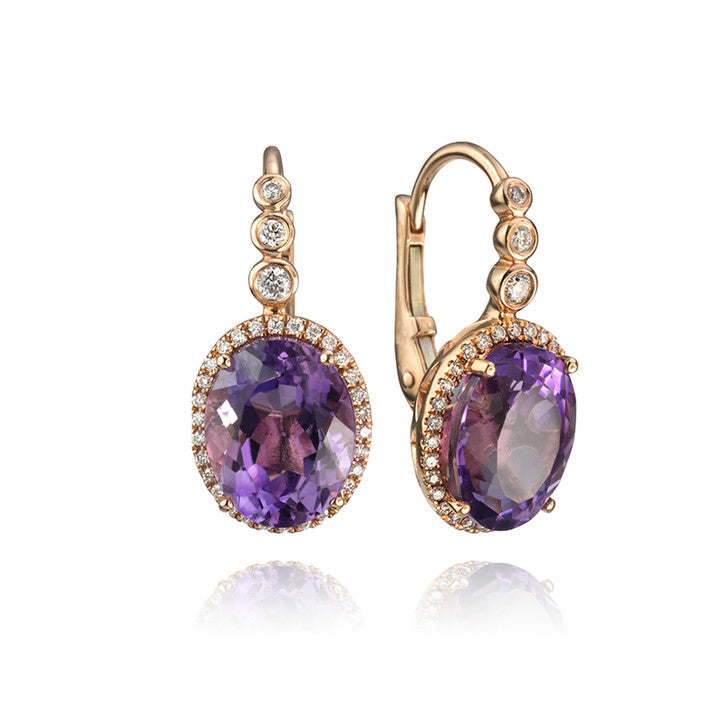 14K Rose Gold Diamond and Amethyst Drop Earrings