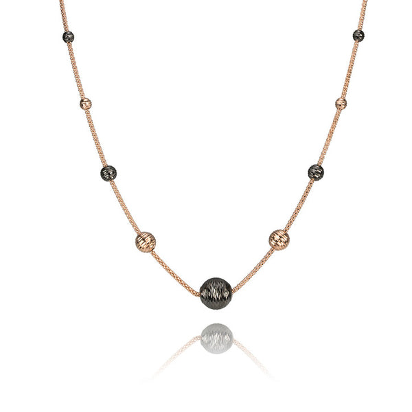 18K Rose Gold Necklace With Gold and Black Ball Charms