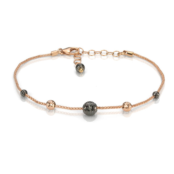 18K Pink and Black Gold Sphere Charm Bracelet