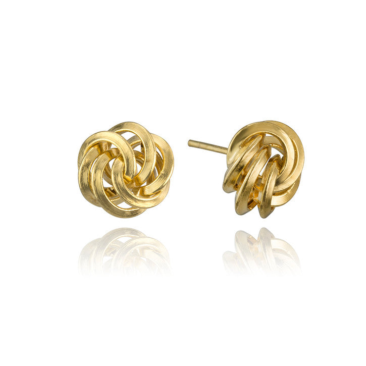 14K Yellow Gold Multi Hoop Stud Earrings