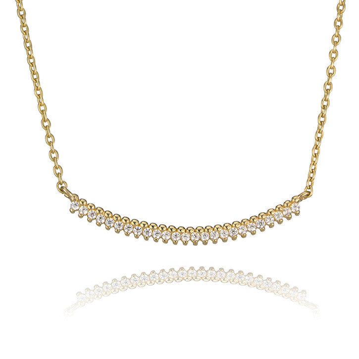 10K Yellow Gold Cubic Zirconia Curved Bar Necklace
