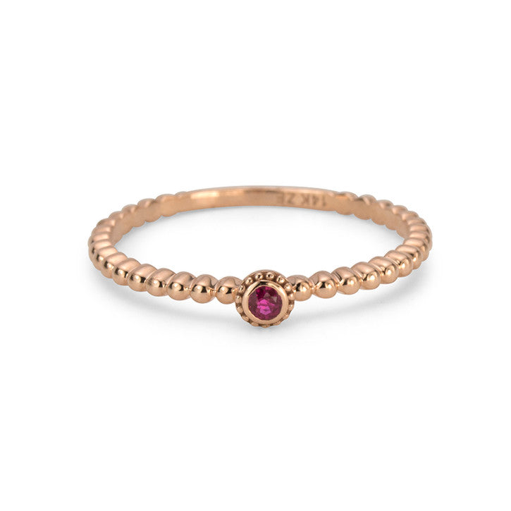 14K Red Gold Ruby Ring