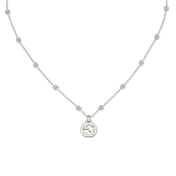 Gucci Silver Interlocking G Flower Chain Necklace