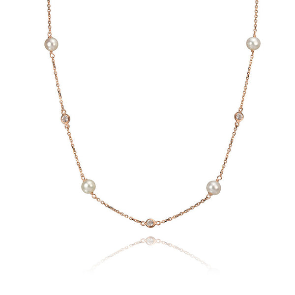 14K Rose Gold Freshwater Pearl and Cubic Zirconia Necklace