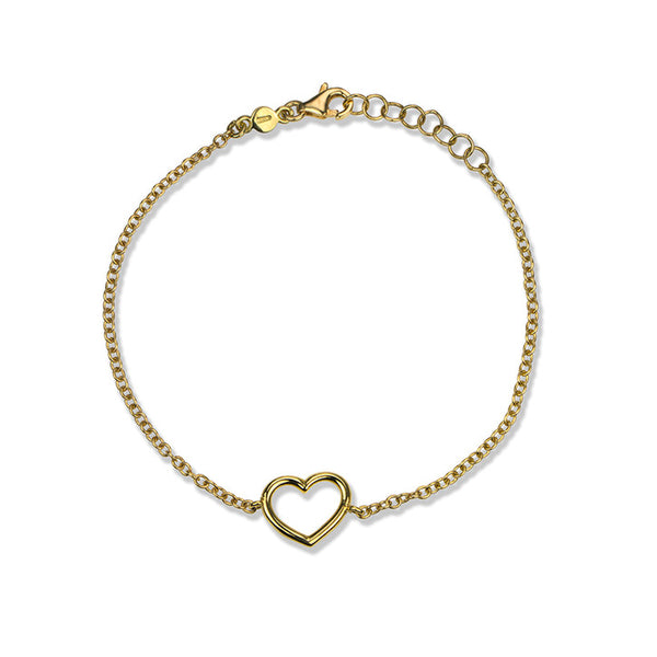 18K Yellow Gold Heart Bracelet