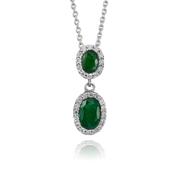 18K White Gold Emerald and Diamond Two Stone Drop Pendant