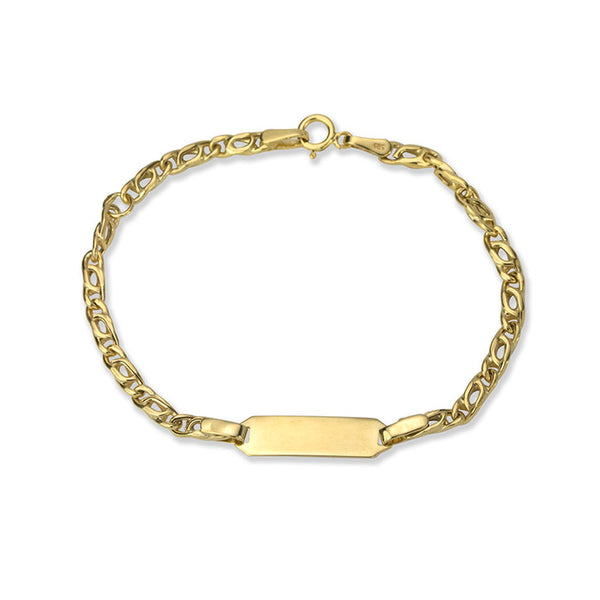 14K Yellow Gold Curved Anchor Link ID Bracelet