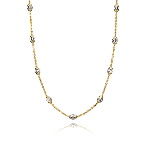 14K Yellow and White Gold Bead Necklace