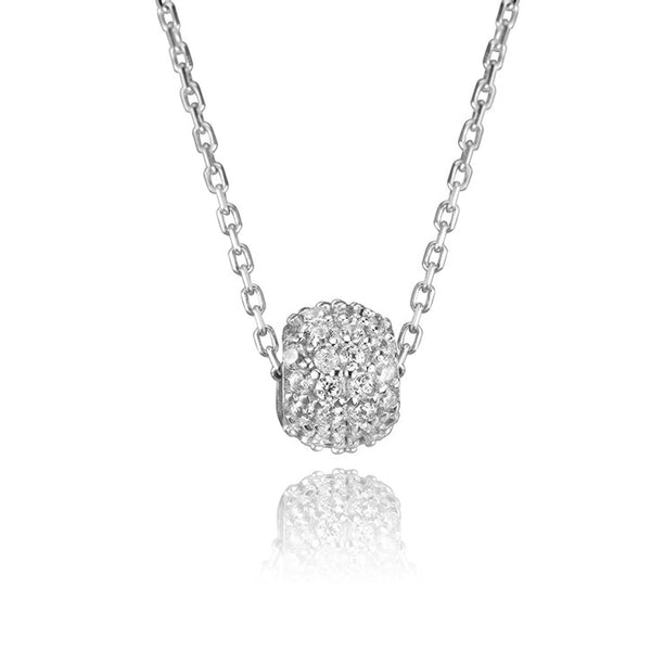 18K White Gold and Cubic Zirconia Cable Link Rondel Pendant