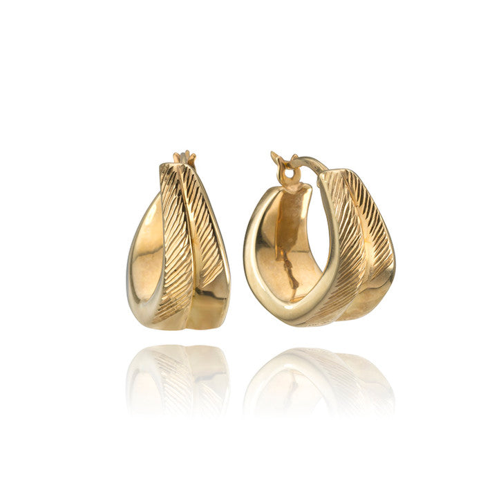 18K Yellow Gold Grooved Hoop Earrings