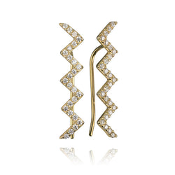 14K Yellow Gold Cubic Zirconia Winding Bar Earrings