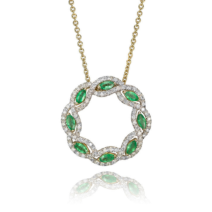 14K Yellow Gold and Diamond Emerald Halo Necklace