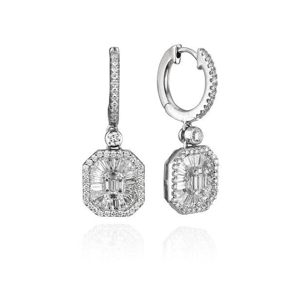 18K White Gold and Diamond Baguette Halo Drop Earrings