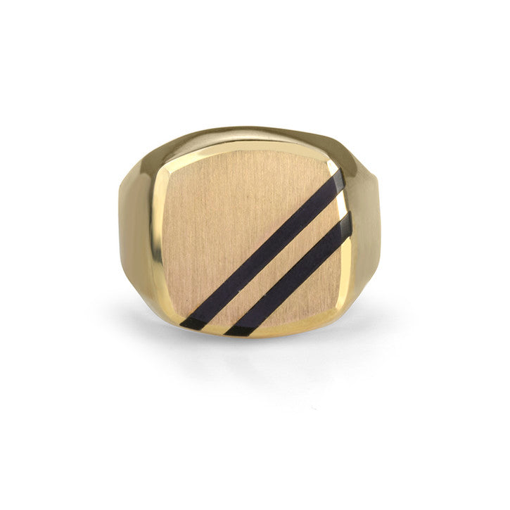 10K Yellow Gold Onyx Striped Ring