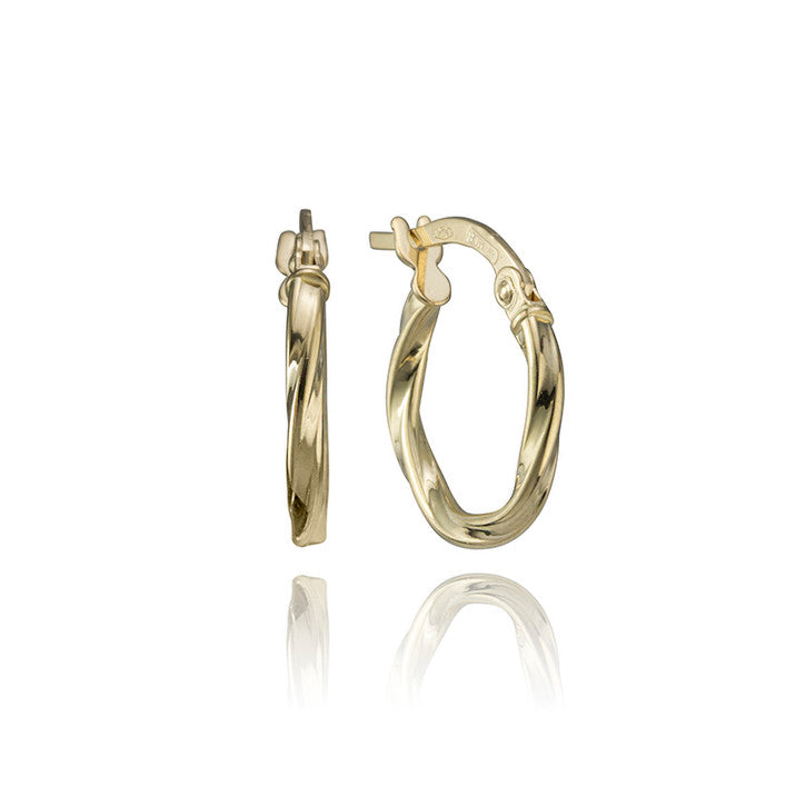 18K Yellow Gold Spiral Hoop Earrings