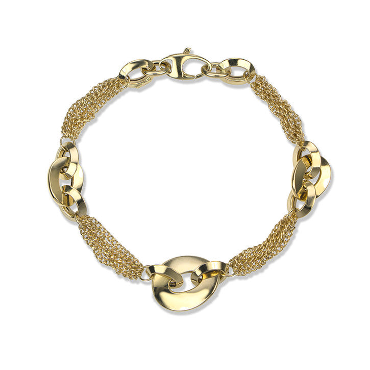 14K Yellow Gold Multi Link Hoop Bracelet