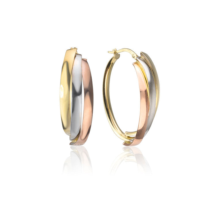 18K Tri-Colour Gold Hoop Earrings