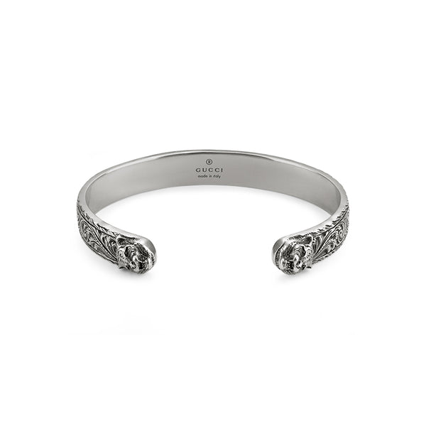 Gucci Silver Gatto Feline Head Bangle
