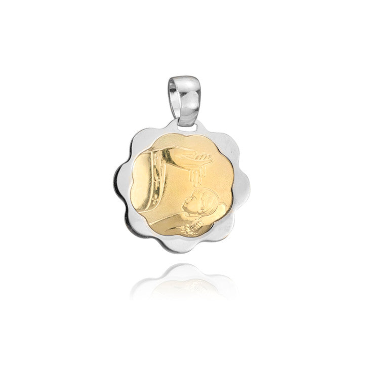 14K Yellow and White Gold Two Tone Baptismal Pendant