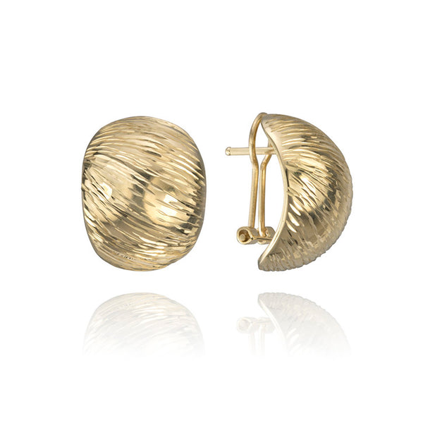 14K Yellow Gold Grooved Shell Earrings