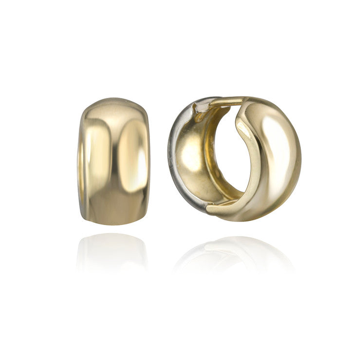 10K Yellow and White Gold Huggie Hoop Earrings
