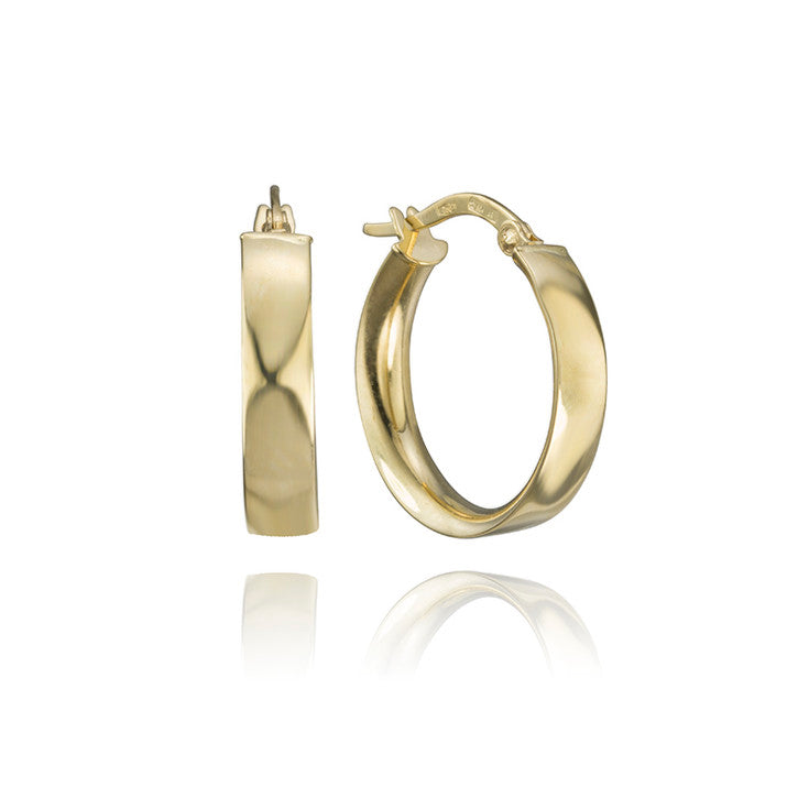 18K Yellow Gold Flat Hoop Earrings
