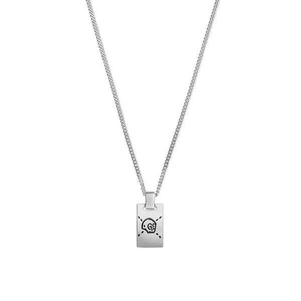 Gucci Silver Ghost Dog Tag Necklace