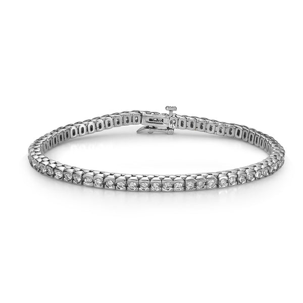 14K White Gold Diamond Half Bezel Tennis Bracelet