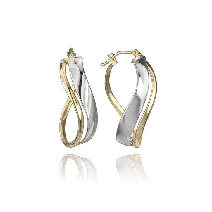 18K Yellow and White Gold Two Tone Curved Hoop Earrings