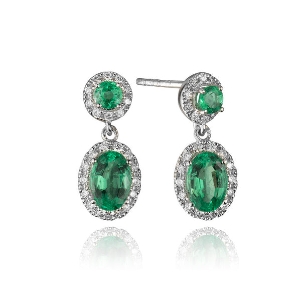 14K White Gold Diamond and Emerald Halo Drop Earrings