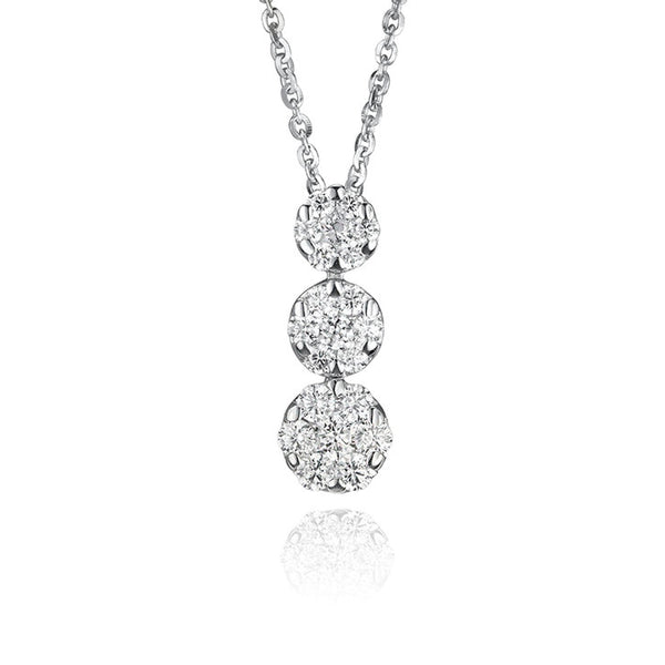 18K White Gold and Cubic Zirconia Drop Necklace