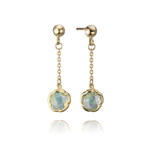 14K Yellow Gold and Blue Topaz Flower Drop Earrings