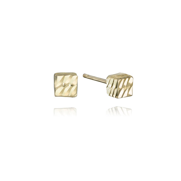 18K Yellow Gold Beveled Cube Stud Earrings