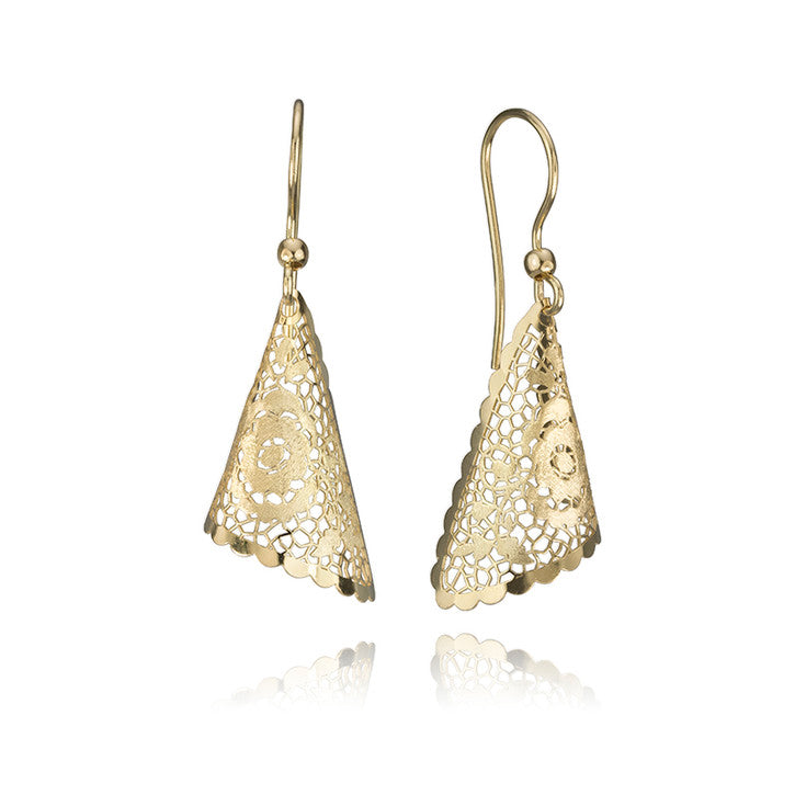 14K Yellow Gold Filigree Drop Earrings