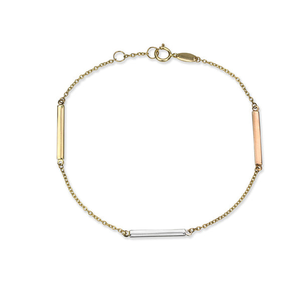 14K Yellow Gold Rolo Link Bracelet with Tri Colour Bars