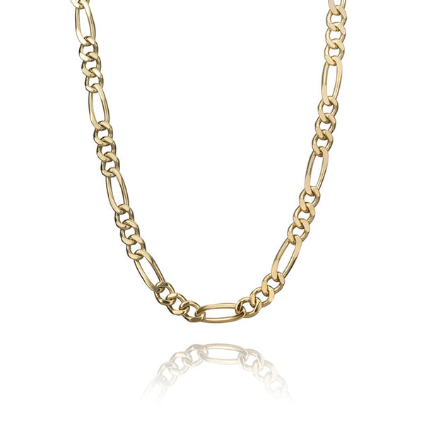 14K Yellow Gold Figaro Link Necklace 3mm 20""