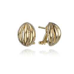 18K Yellow and White Gold Two Tone Striped Shell Earrings
