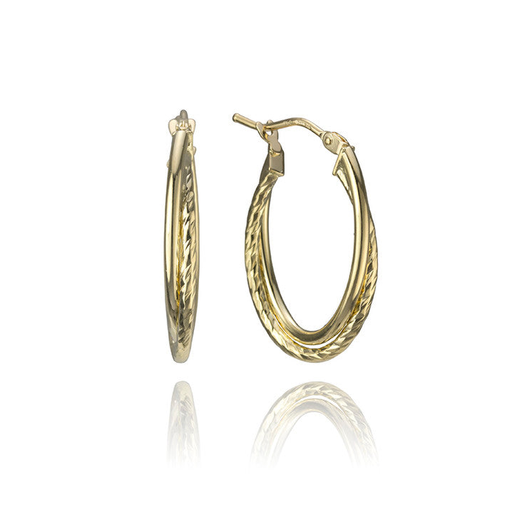 18K Yellow Gold Twist Hoop Earrings