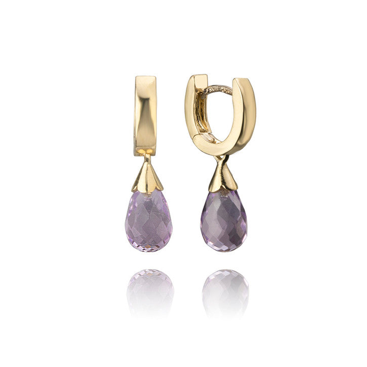 14K Yellow Gold and Purple Amethyst Earrings