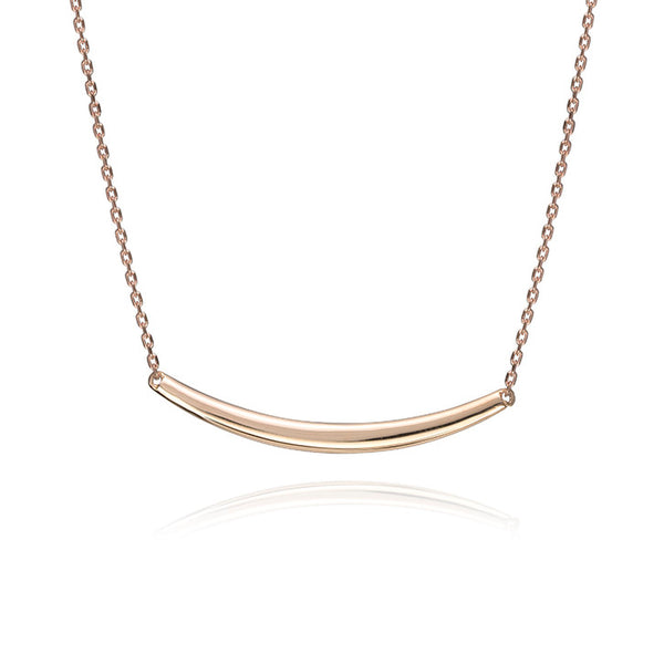 18K Rose Gold Curved Bar Cable Link Necklace