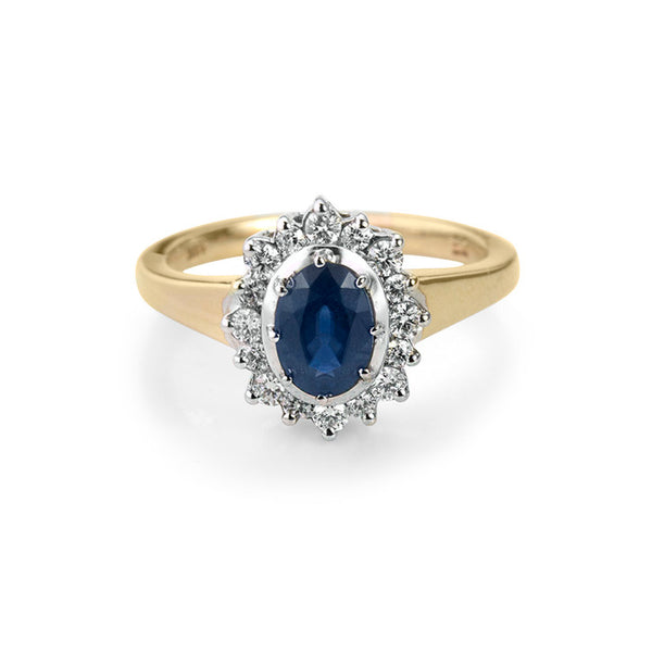 14K Yellow Gold Sapphire and Diamond Halo Ring