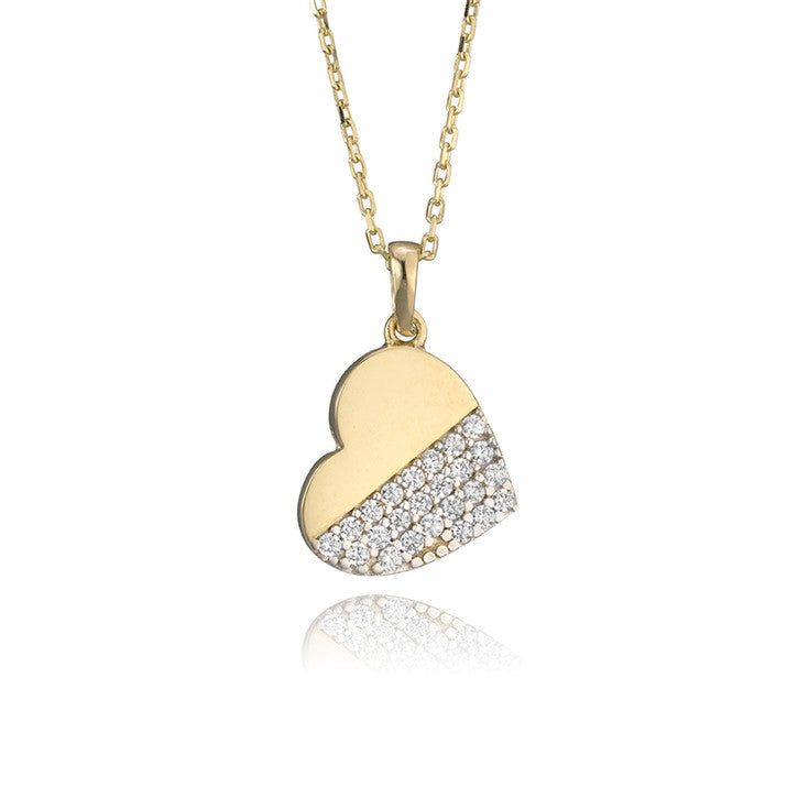 14K Yellow Gold and Cubic Zirconia Heart Pendant