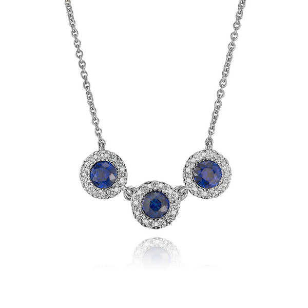 14K White Gold and Diamond Triple Sapphire Necklace